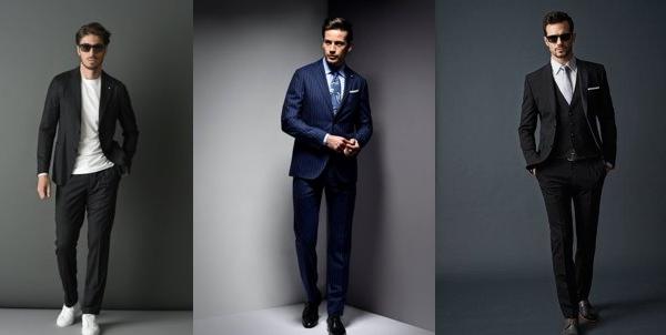 様々な色のスーツを着用する外国人男性