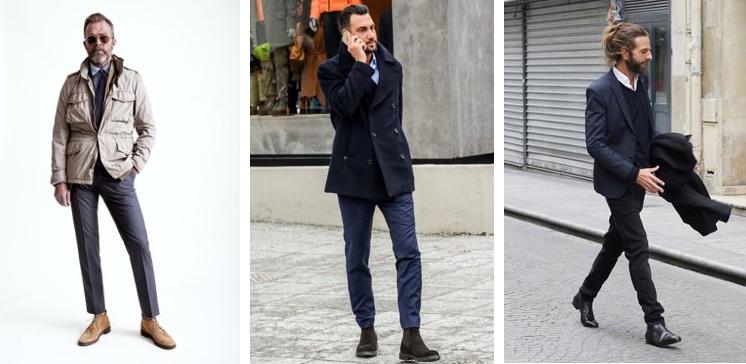 スーツにブーツをコーデする外国人の男性