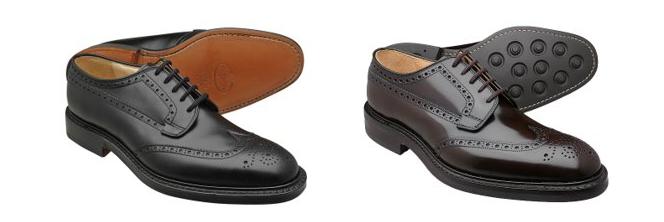 チャーチのブラックとブラウンの「グラフトン」モデルの革靴