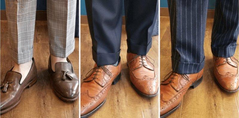パンツの裾丈が分かる男性の着用写真
