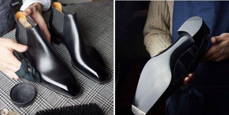 革靴 シワ